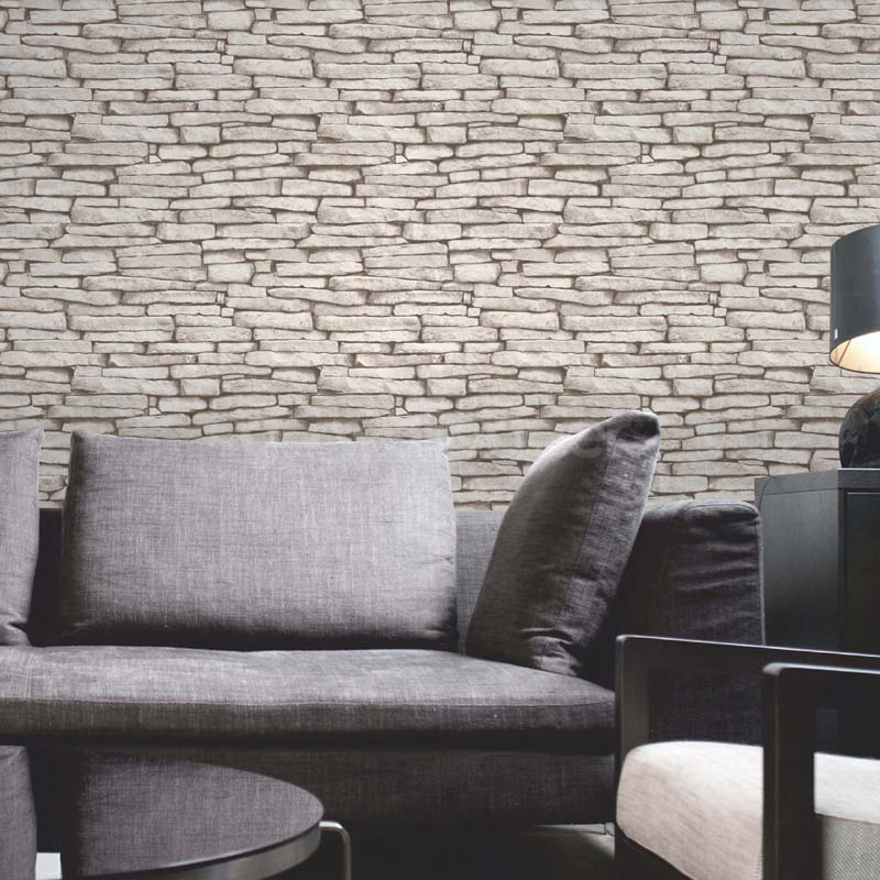 Fine decor rustic brick wallpaper natural stone for Decoration mur interieur pierre