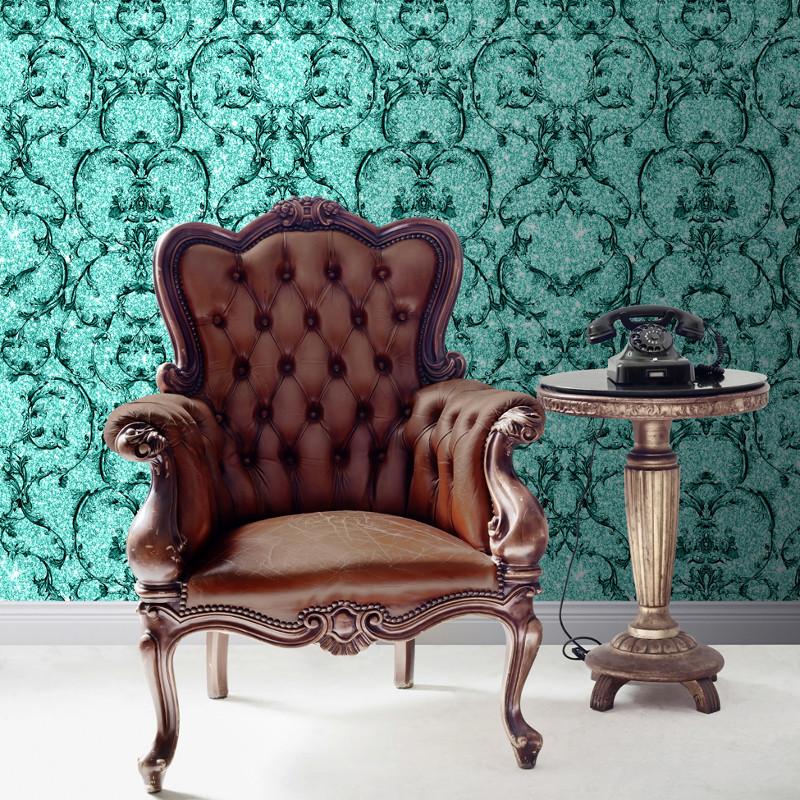 Muriva Baroque Scroll Glitter Wallpaper Hot Teal