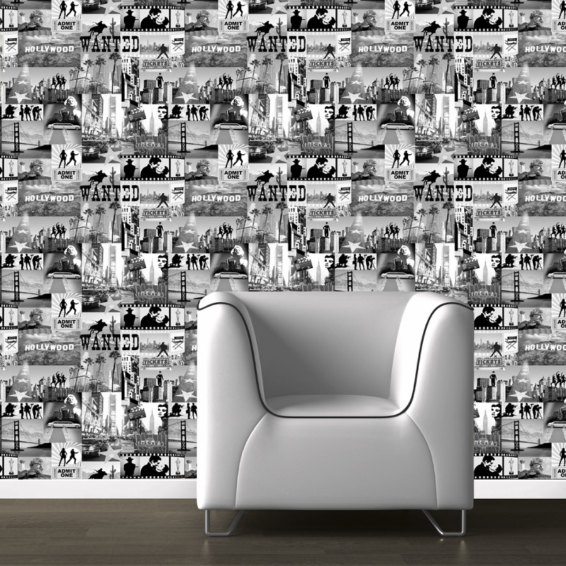 Muriva Hollywood Black & White Wallpaper
