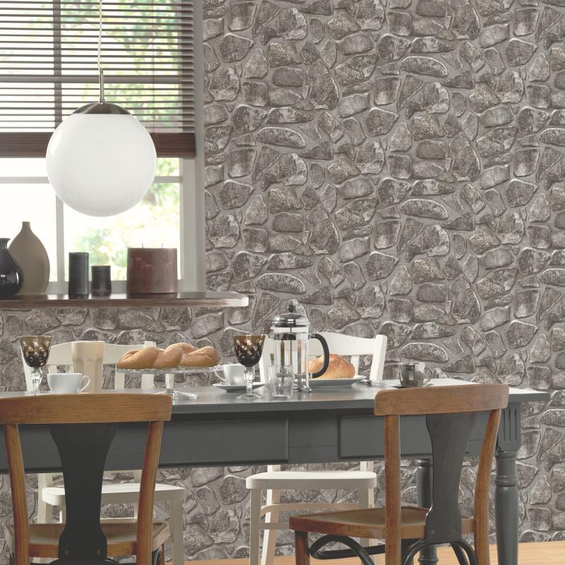 P s international stone effect wallpaper charcoal for International decor uk
