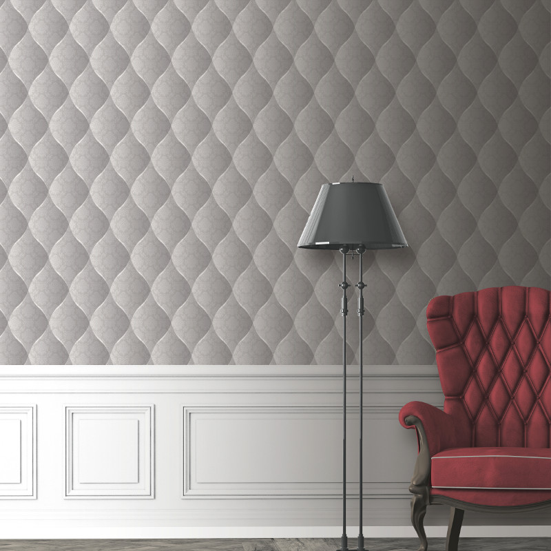 Muriva Damask Padded Effect Wallpaper Light Grey