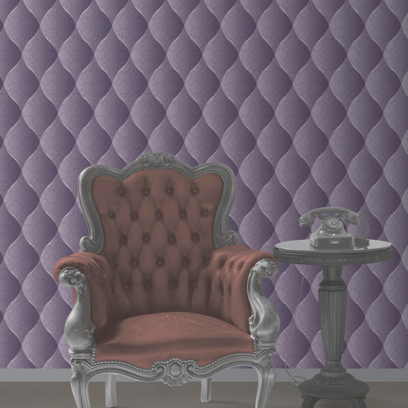 Muriva damask padded effect wallpaper purple for Padded wall wallpaper