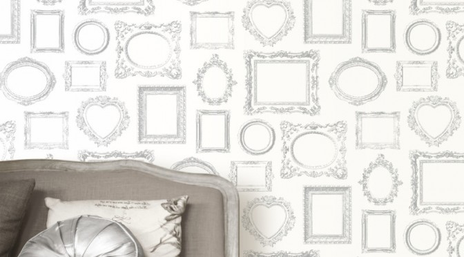 Muriva Metallic Frames Wallpaper – Silver