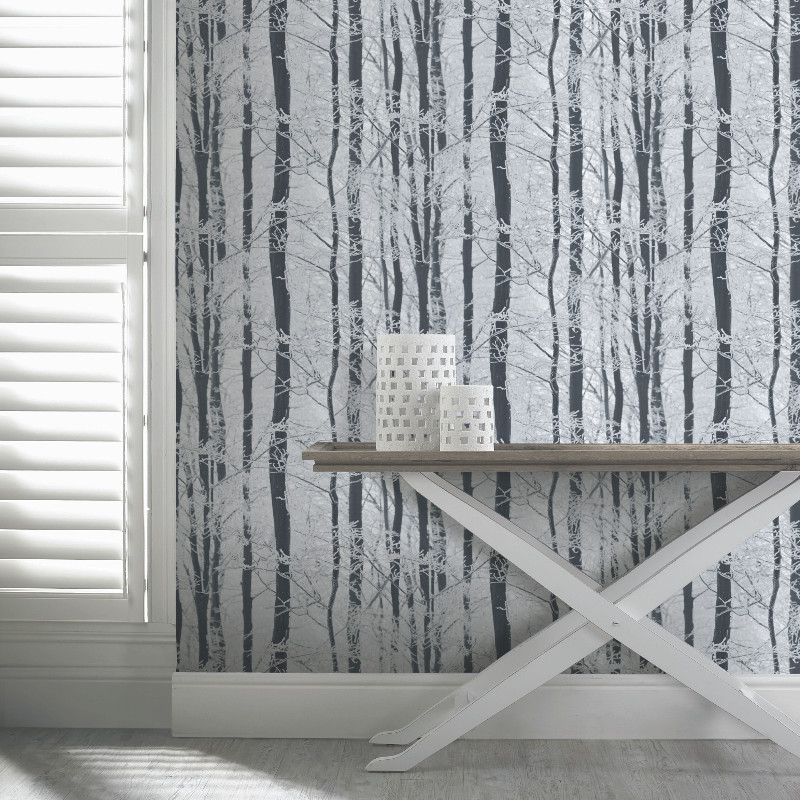 Arthouse Frosted Wood Glitter Wallpaper Silver