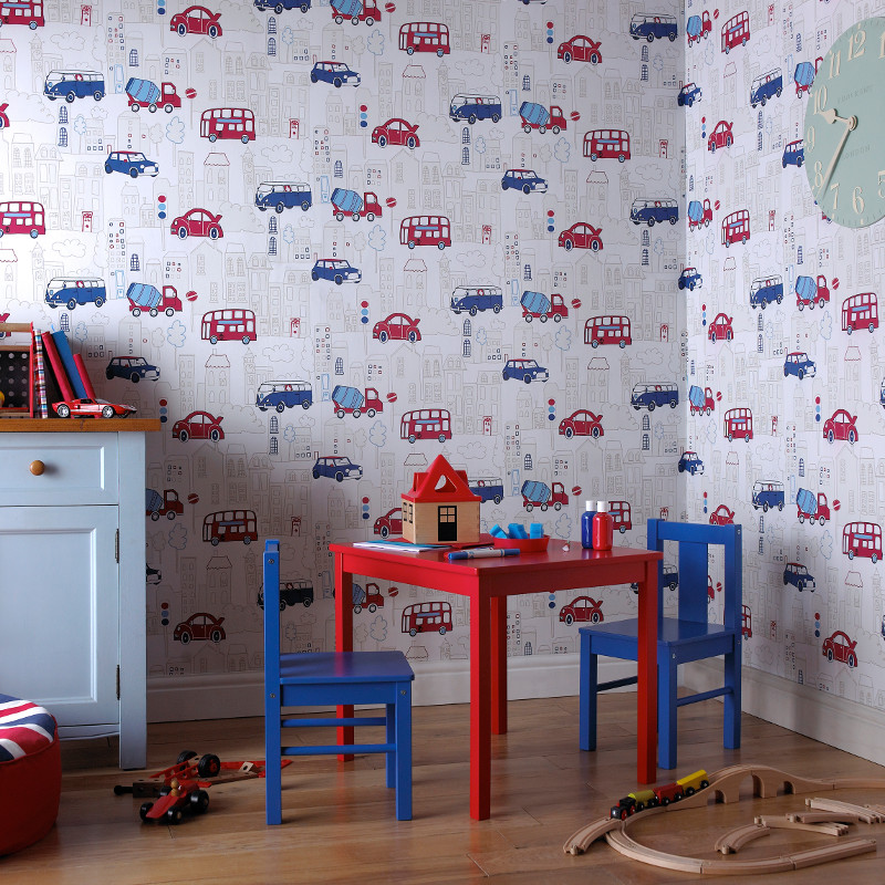 Arthouse Motor Mania Opera Fun Wallpaper - Blue