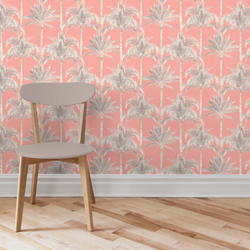 Fine Decor Miami Palm Tree Wallpaper Coral