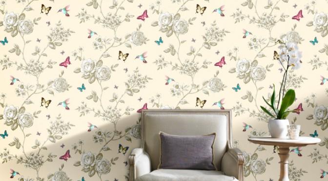 Grandeco rose garden bird and butterfly wallpaper cream for Butterfly wallpaper for walls