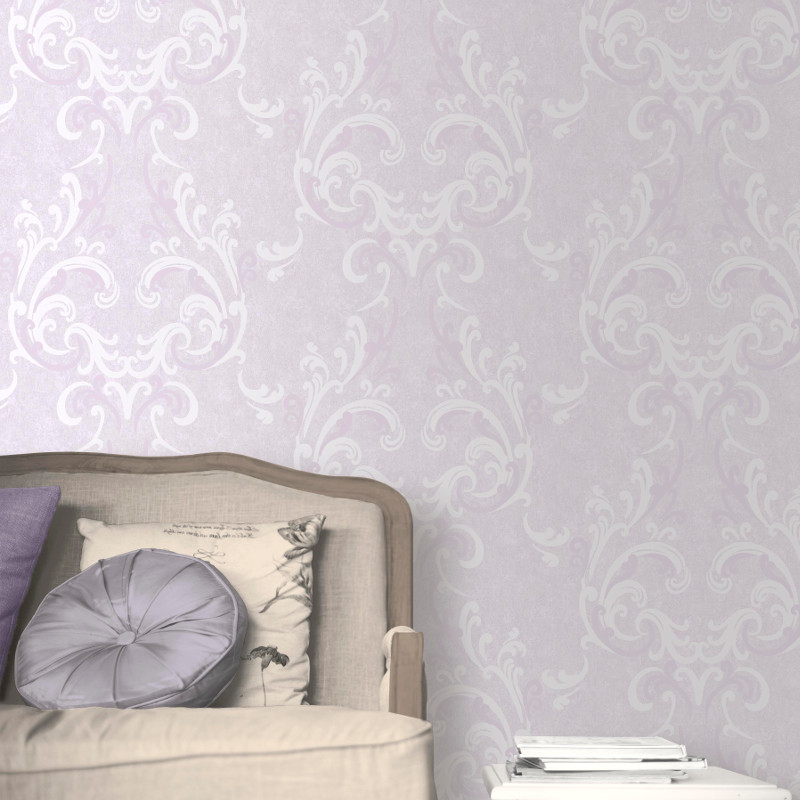 Muriva Juliette Damask Wallpaper Lilac