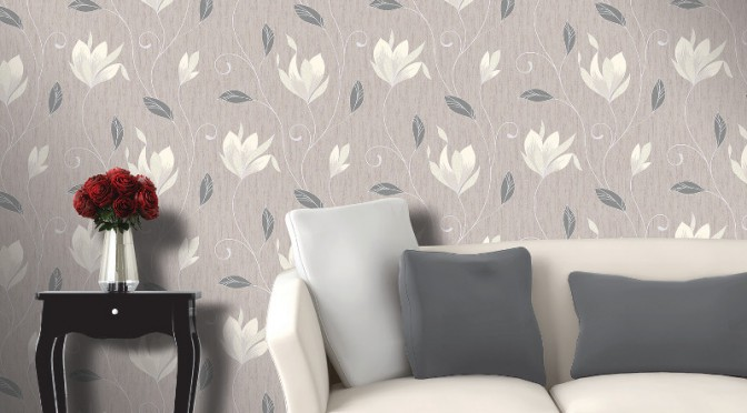 Vymura Synergy Glitter Floral Wallpaper – Taupe and Silver