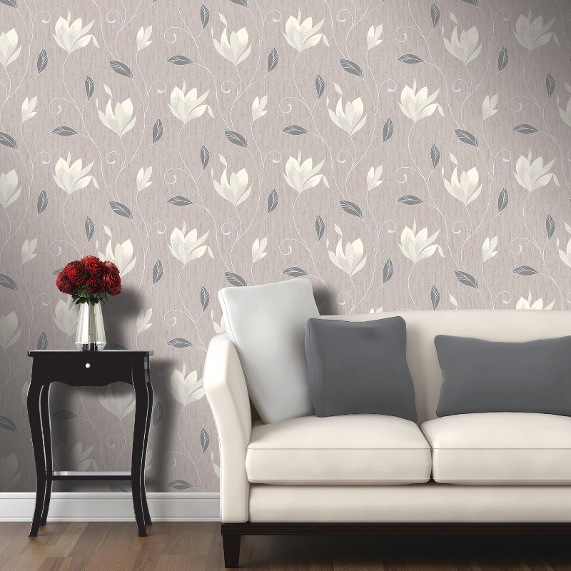 Vymura synergy glitter floral wallpaper taupe and silver for Grey silver wallpaper living room