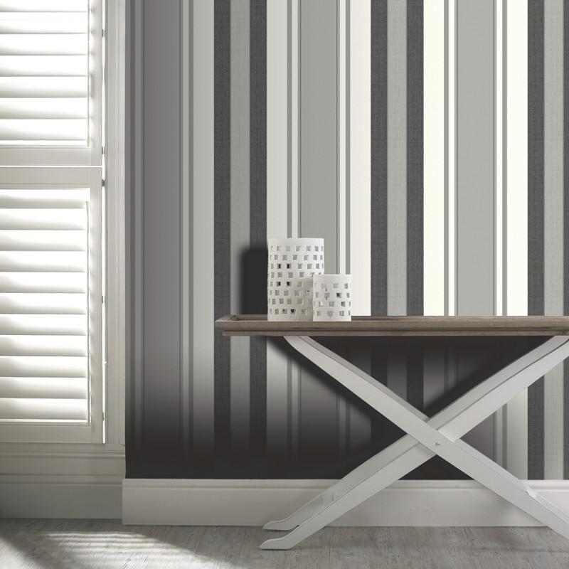 Arthouse dante stripe wallpaper in black - Art house wallpaper uk ...