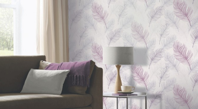 Arthouse Whisper Feather Wallpaper – Lavender