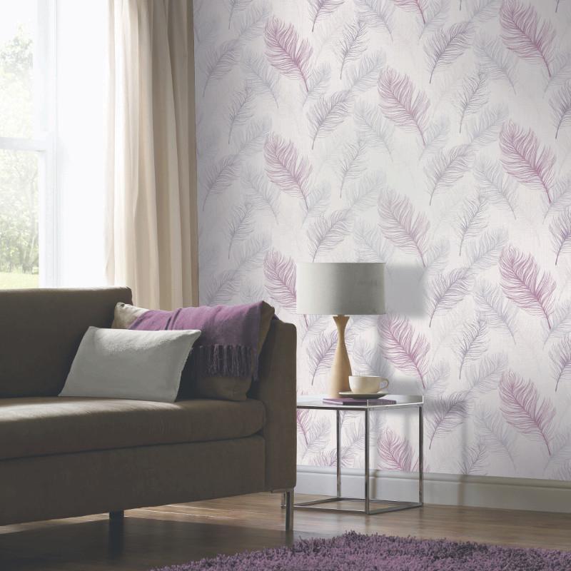 Arthouse whisper feather wallpaper lavender - Art house wallpaper uk ...