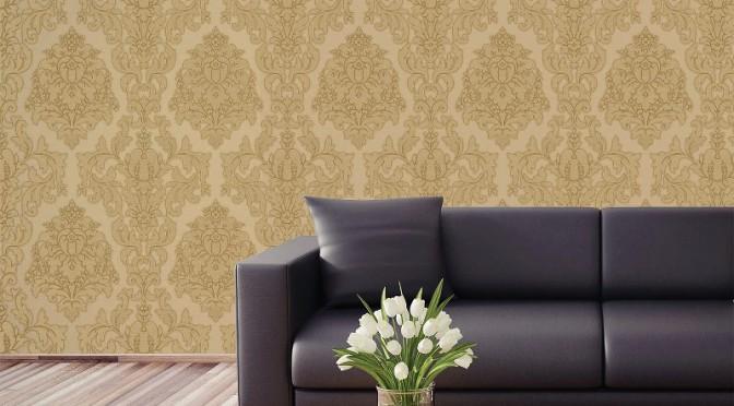Crown Harewood Damask Glitter Wallpaper – Gold