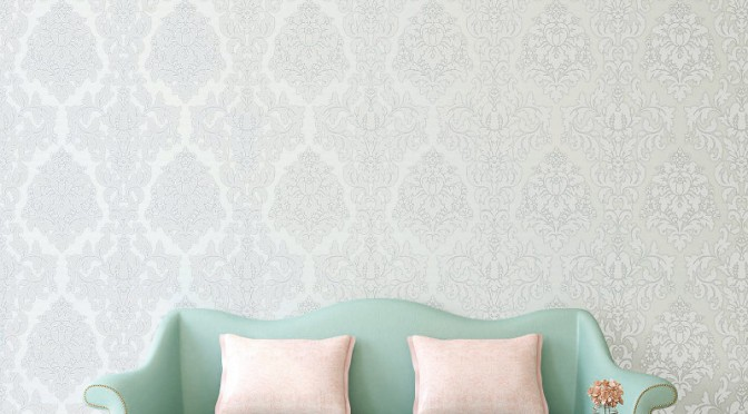 Crown Harewood Damask Glitter Wallpaper – White