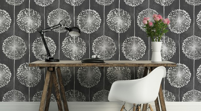 Muriva Dandelion Floral Wallpaper – Black