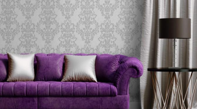 Muriva Serafina Damask Glitter Wallpaper – Silver