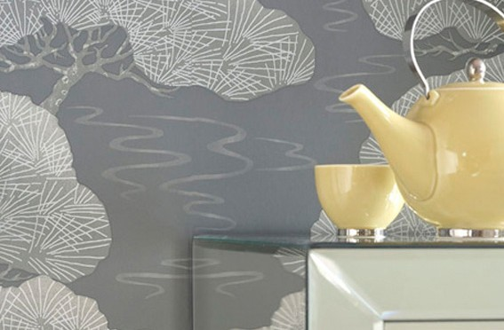 Little Greene Pines Oriental Wallpaper – Silver Pine