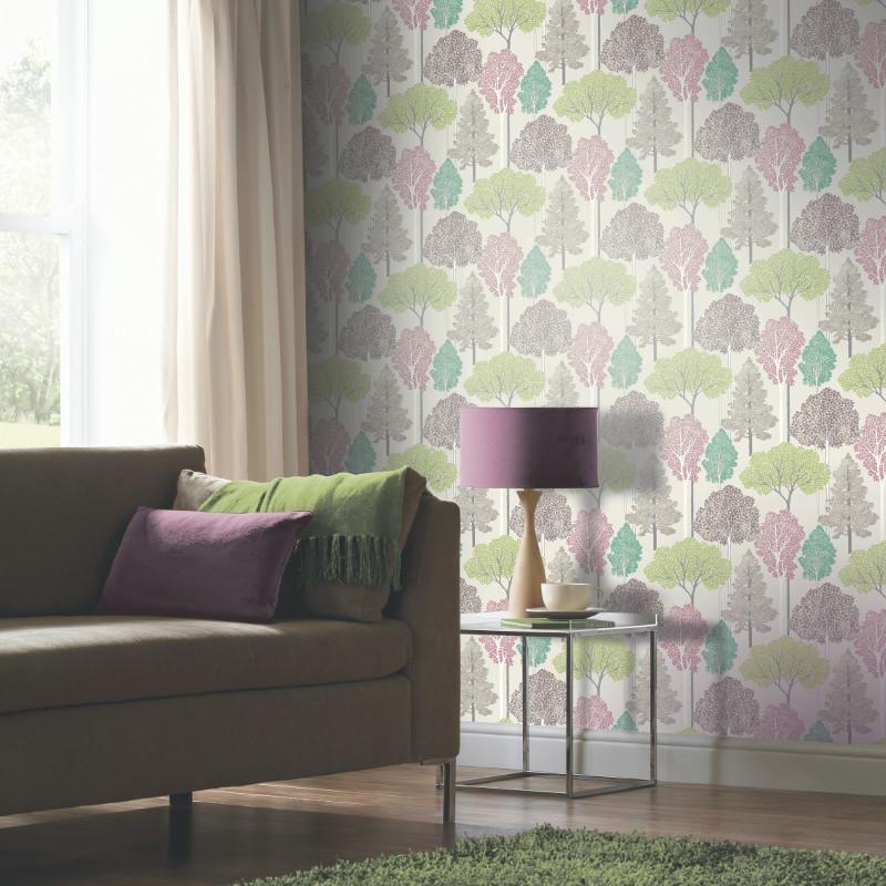 Arthouse Ellwood Glitter Trees Wallpaper Pastel Go