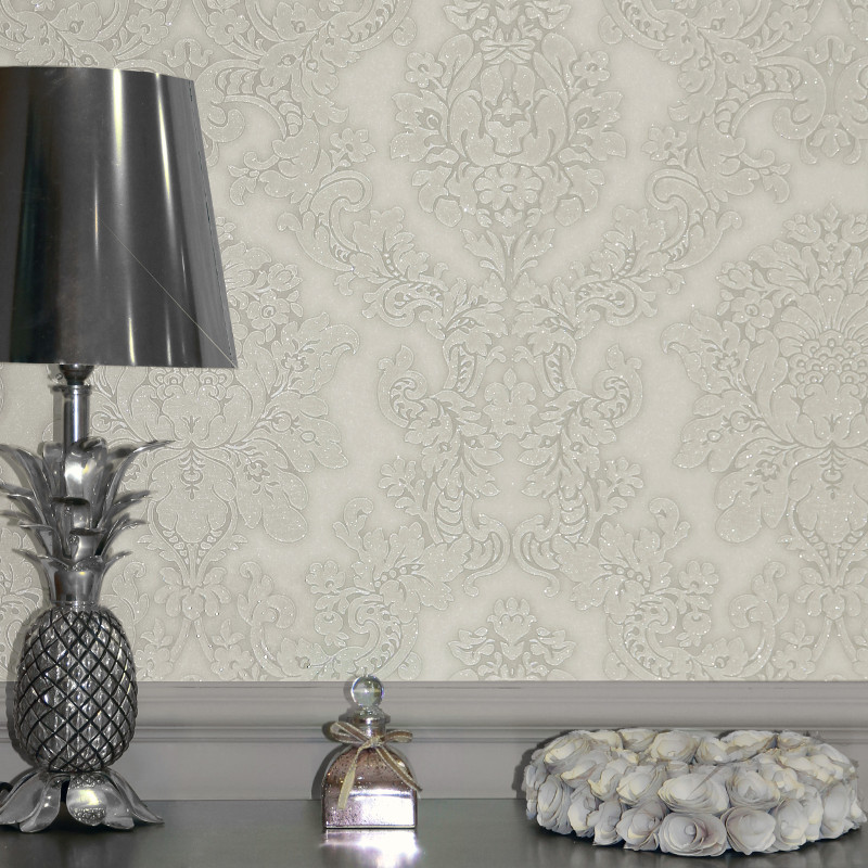 Elegant Cream Hallway With Damask Wallpaper: Arthouse Vicenza Damask Wallpaper