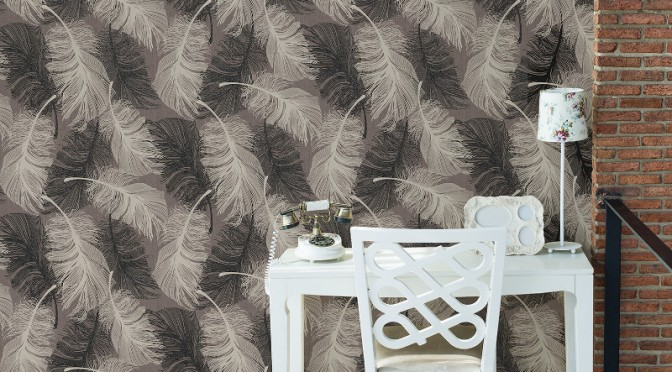 Coloroll Feathers Wallpaper – Chocolate