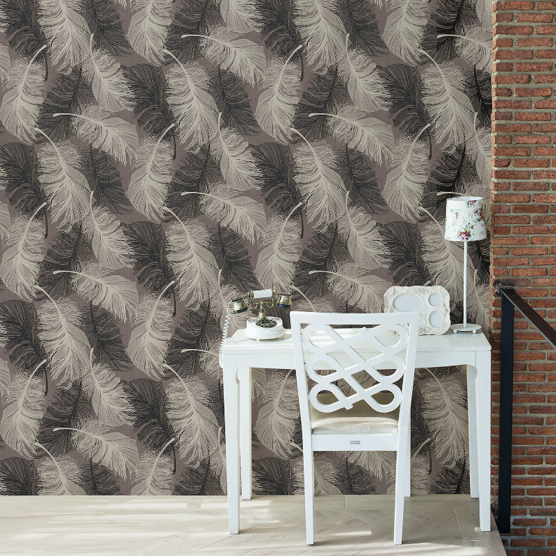 Coloroll Feathers Wallpaper Chocolate Go Decorating
