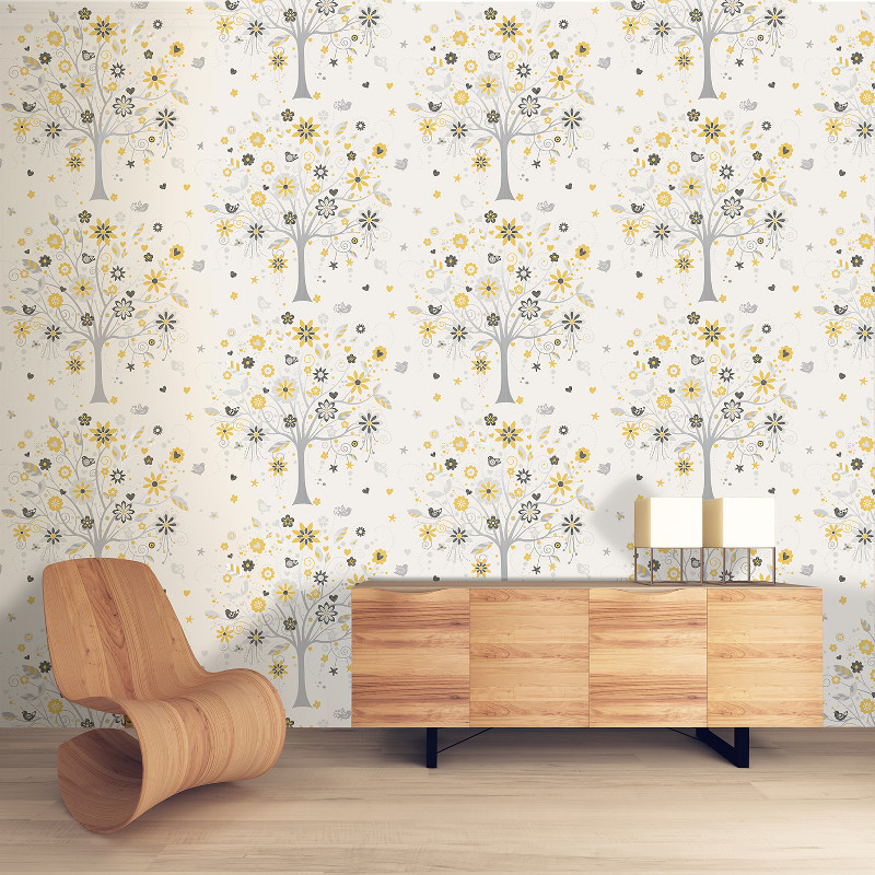 Coloroll tree of life wallpaper in yellow my cms for Yellow wallpaper home decor