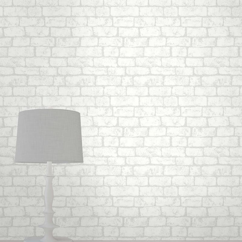 Fine Decor Glitter Brick Wallpaper In White Fd40879 Go