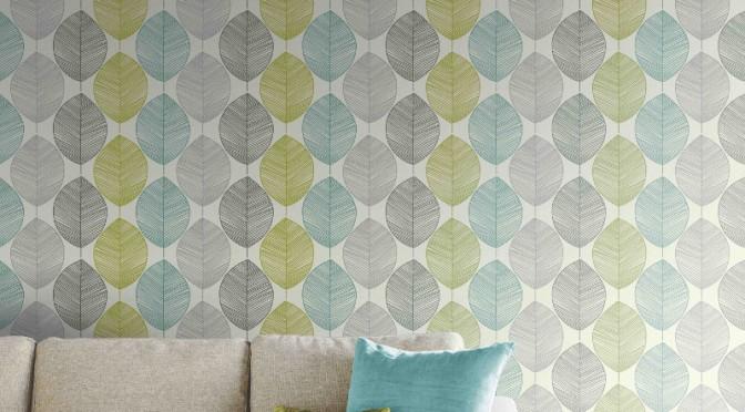 Arthouse retro leaf wallpaper teal and green go - Art house wallpaper uk ...