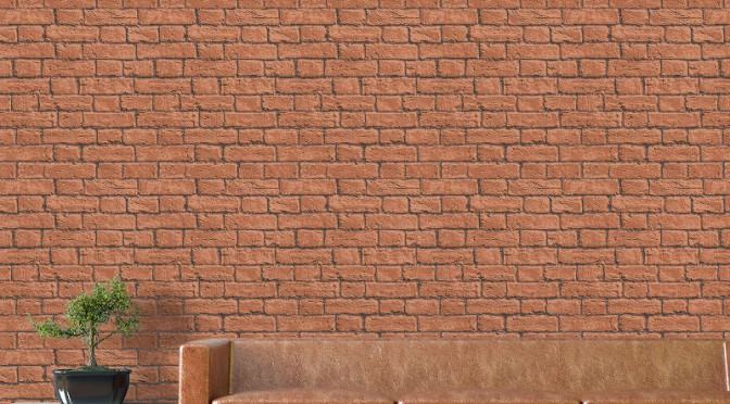 Coloroll Glitter Brick Wallpaper – Terracotta