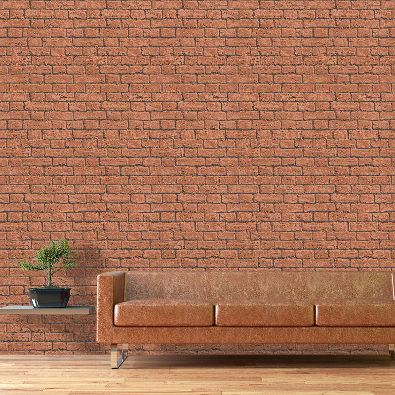 Coloroll Glitter Brick Wallpaper Terracotta Go