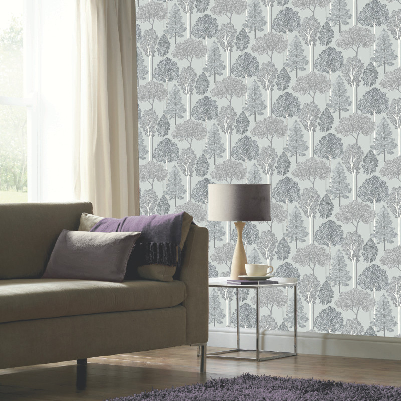 Arthouse Ellwood Glitter Trees Wallpaper Silver