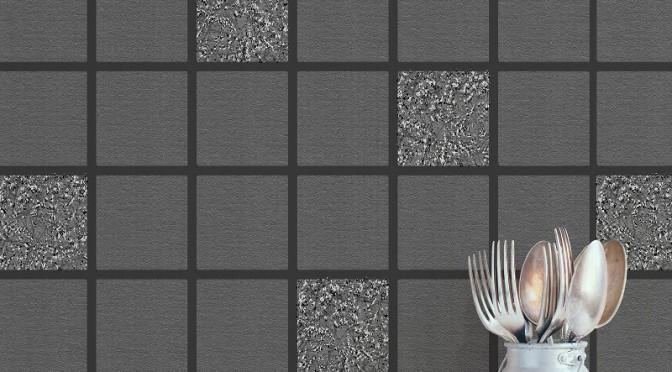 Crown Cracked Tile Glitter Wallpaper – Black & Charcoal