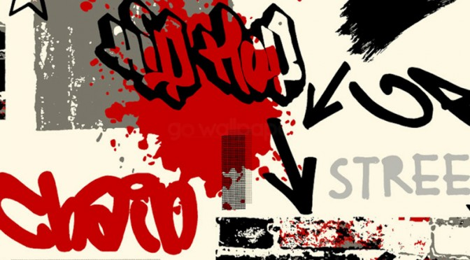Graffiti Wallpaper Red, Black & Grey by Debona