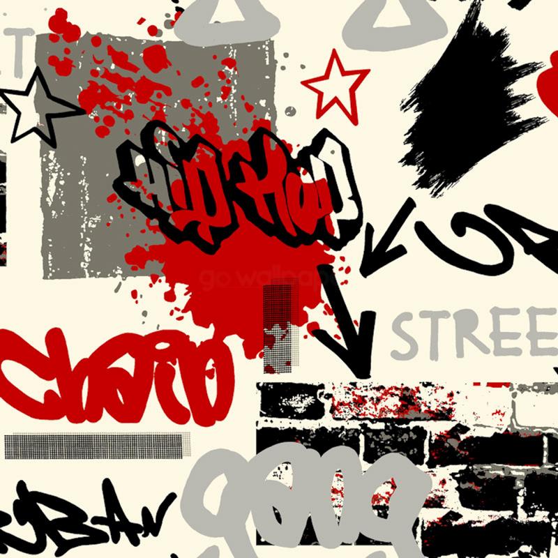 Graffiti Wallpaper Red Black Grey By Debona