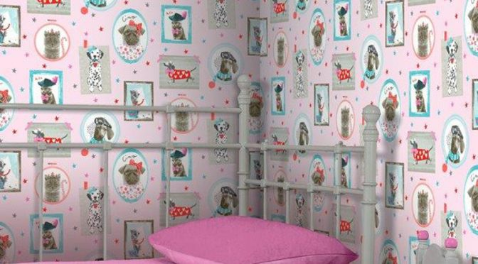 Arthouse Cat and Dog Glitter Wallpaper – Pink