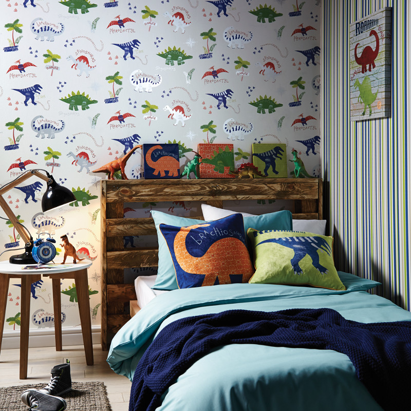 Diy Boy Bedroom Ideas Bedroom Wallpaper Designs Bedroom Sets Decorating Ideas Brown Black And White Bedroom: Dinosaur Wallpaper With Dino Doodles By Arthouse