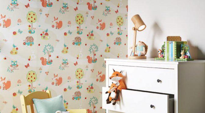 Arthouse Forest Friends and Bird Wallpaper – Neutral