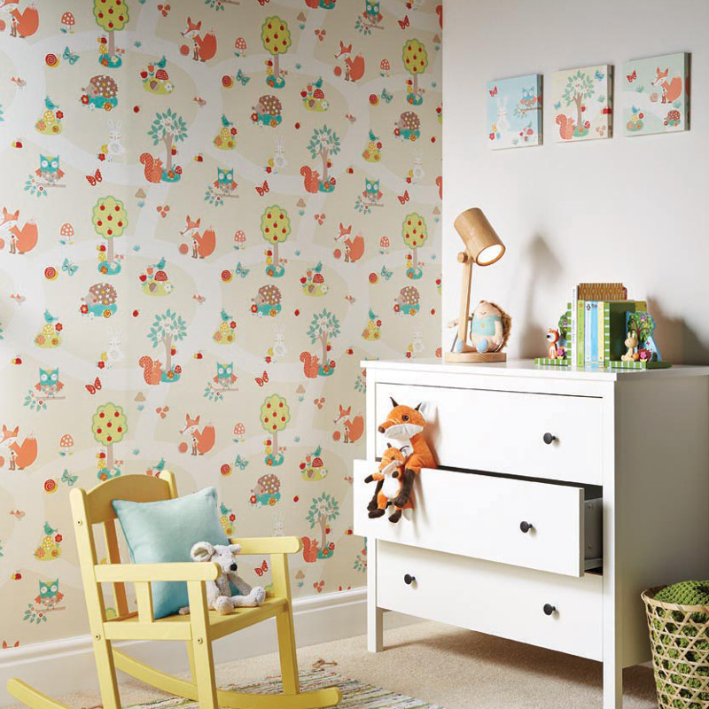 Arthouse forest friends and bird wallpaper in neutral for Bird wallpaper home decor