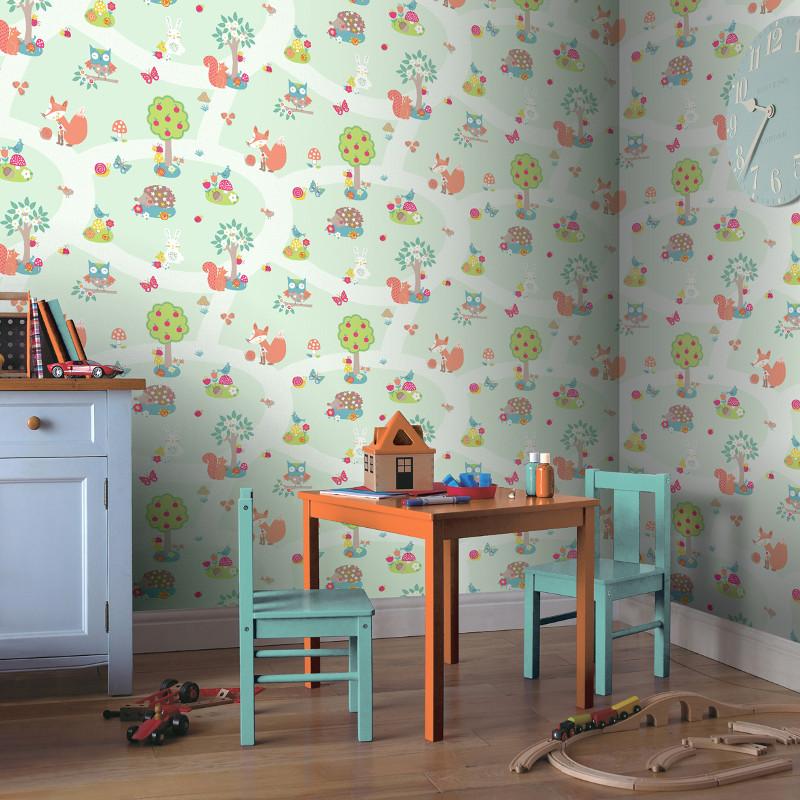Arthouse forest friends and bird wallpaper mint for Bird wallpaper home decor
