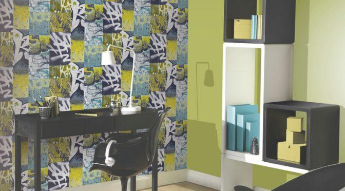 Arthouse Graffiti Brick Wall Photo Wallpaper – Lime