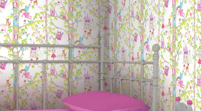 Arthouse Woodland Fairies Wallpaper – White