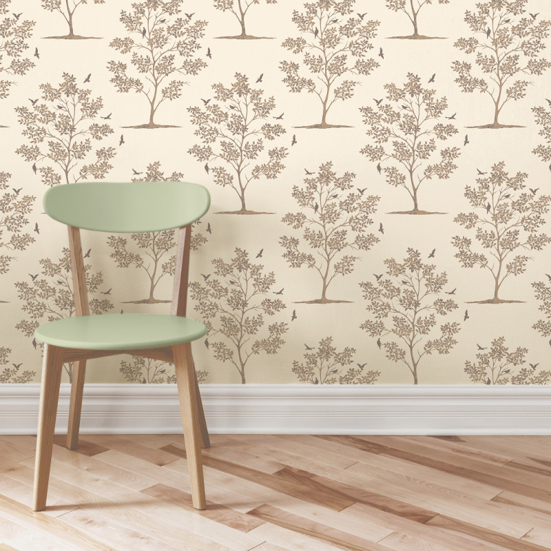 Fine decor trees and bird wallpaper gold for Bird wallpaper home decor