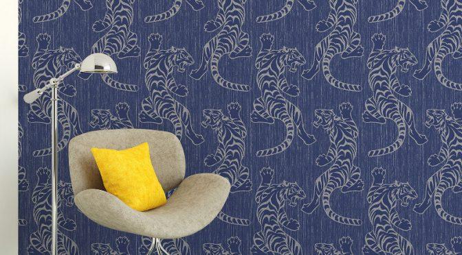 Vymura Tiger Glitter Wallpaper – Midnight Blue