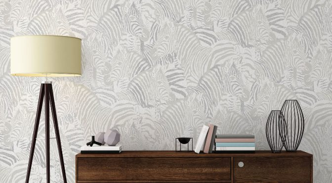 Vymura Zebra Glitter Wallpaper – Platinum Grey