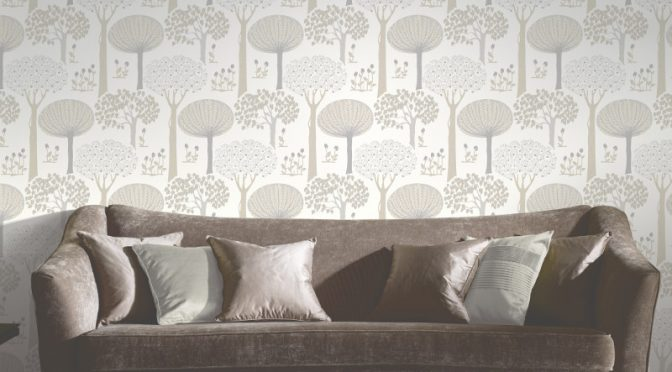 Arthouse Bernwood Trees Forest Wallpaper – Cream