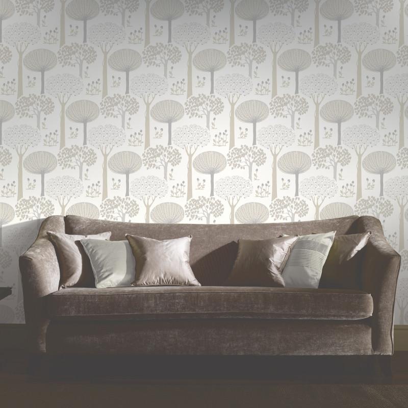 Arthouse bernwood trees forest wallpaper cream - Art house wallpaper uk ...