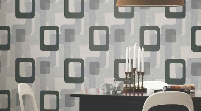 retro wallpaper p s international novara black grey. Black Bedroom Furniture Sets. Home Design Ideas