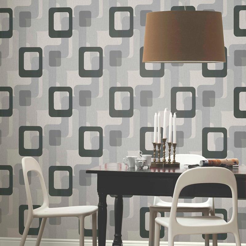 Retro wallpaper p s international novara black grey for International decor uk