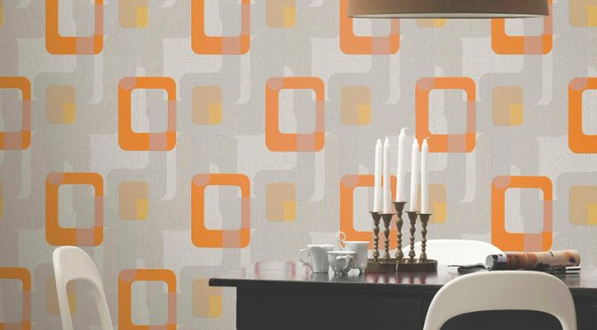 P s international novara retro wallpaper in orange for International decor uk
